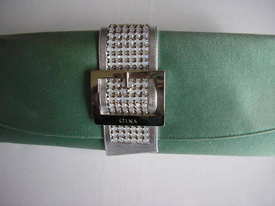 Gina sage green clutch with diamonte 2