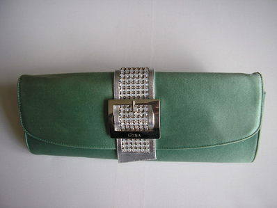 Gina sage green clutch with diamonte
