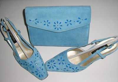 Jacques Vert mother of the bride shoes ,bag. blue.Size6.5.used