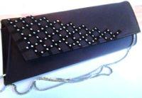 Designer Magrit black silky evening bag with diamonte