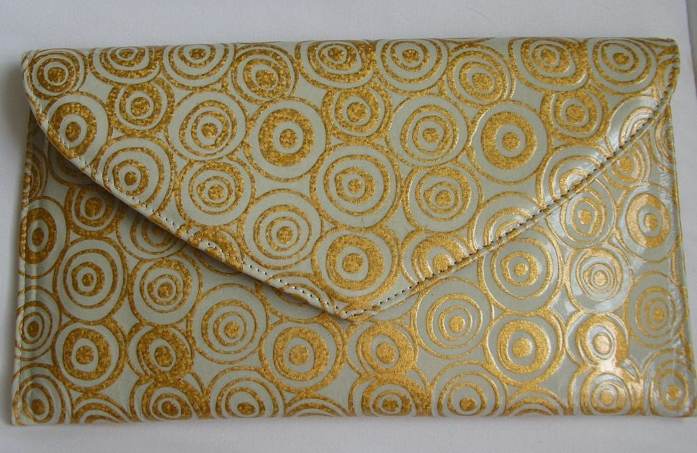 Renata small occasions clutch bag duck egg blue and gold