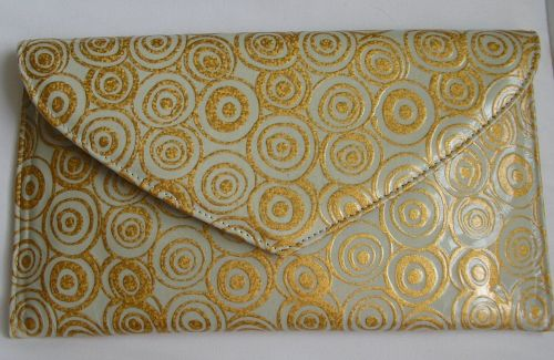 Renata small occasions clutch duck egg blue and gold