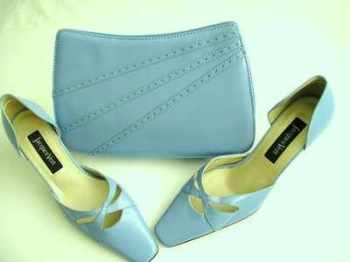 Jacques Vert mother of the bride shoes matching bag .Blue size 4.5
