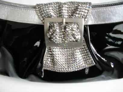 Gina black patent crystals clasp