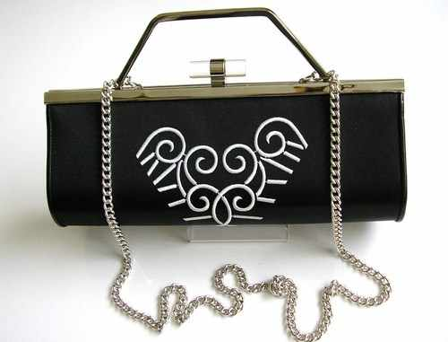 Renata black white scroll bag