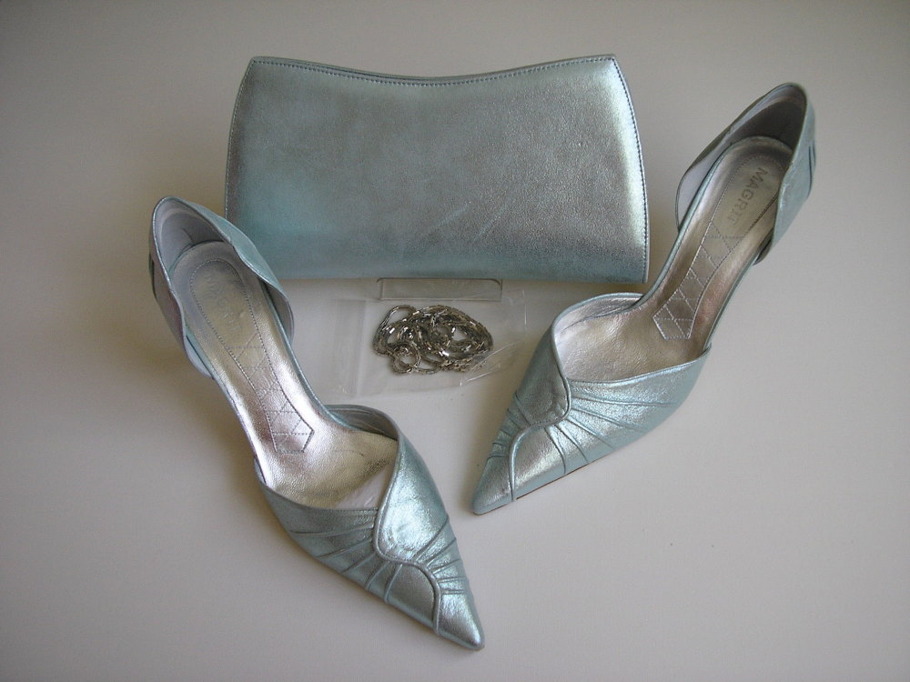 Magrit aqua green silver shoes matching bag/clutch size 5.5