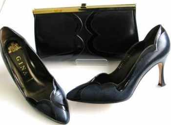 Gina designer shoes matching 3 way bag navy leather.size 4.5