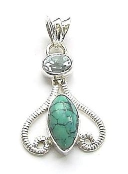 Turquoise And Blue Topaz Gemstone Silver Pendant