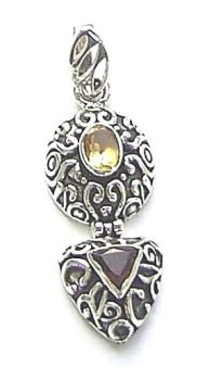 Citrine And Garnet Sterling Silver Gemstone Pendant