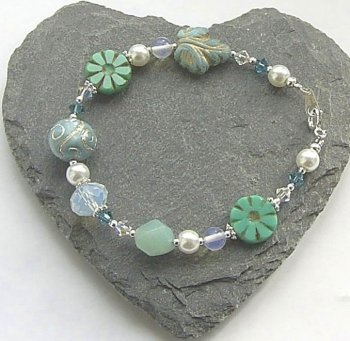 Opalite And Amazonite Gemstone Flower Silver Bracelet