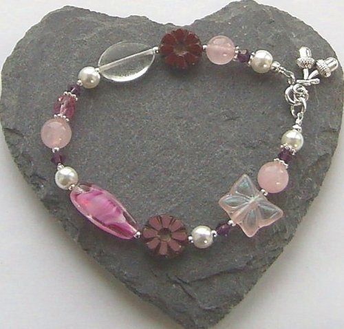 Rose Quartz Butterfly Flower And Acorn Sterling Silver Bracelet