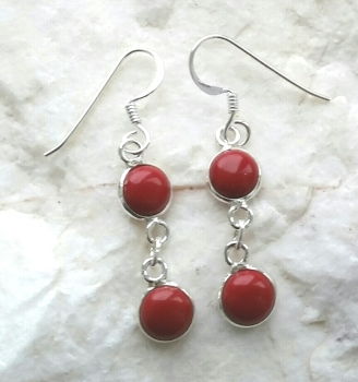 Coral Double Gemstone Silver Earrings
