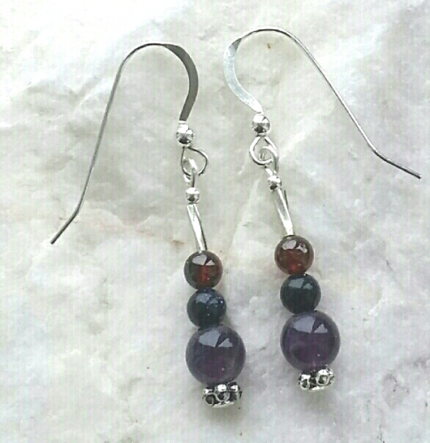 Amethyst Garnet And Blue Goldstone Gemstone Earrings
