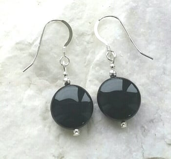 Black Onyx Coin Gemstone Silver Earrings