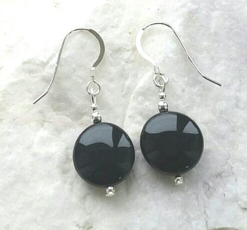 Black Onyx Coin Gemstone Silver Earrings