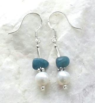 Freshwater Pearl And Kyanite Sterling Silver Earrings
