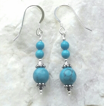 Turquoise Triple Gem Sterling Silver Earrings
