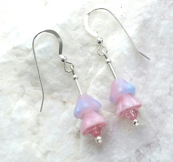 Pink And Lilac Flower Crystal Sterling Silver Earrings