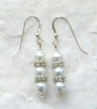 Swarovski Crystal And Pearl Sterling Silver Earrings