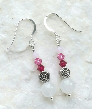 Moonstone And Pink Opal Rose Sterling Silver Earrings