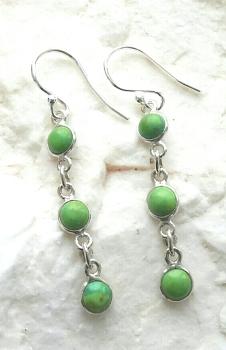 Green Turquoise Multi Gemstone Sterling Silver Earrings