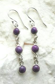 Purple Turquoise Gem Silver Earrings