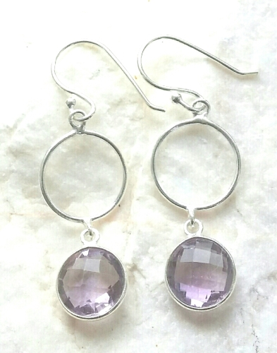 Amethyst Gem Sterling Silver Earrings