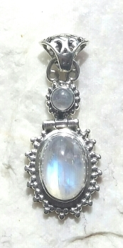 Moonstone Double Sterling Silver Pendant