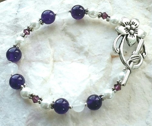 Moonstone And Amethyst Gemstone Silver Bracelet