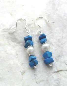 Turquoise And Pearl Gemstone Silver Earrings