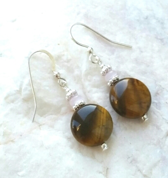 Tigers Eye And Rose Quartz Gemstone Earrings
