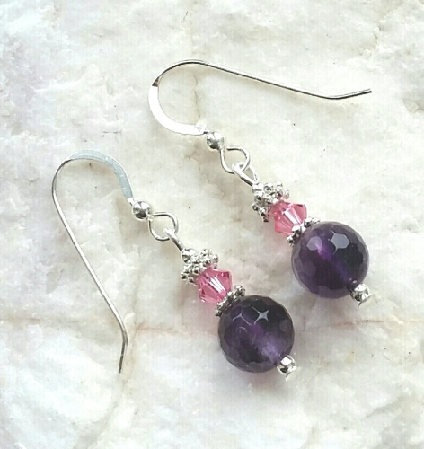 Amethyst With Pink Crystal Sterling Silver Earrings