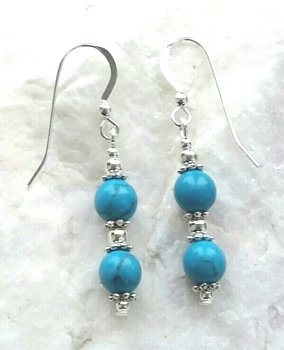 Turquoise Gemstone And Swarovski Crystal Silver Earrings