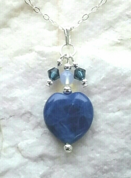 Sodalite Gemstone Heart With Moonstone Sterling Silver Necklace