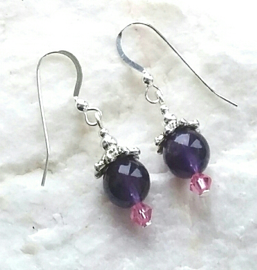 Amethyst Gemstone And Pink Swarovski Crystal Silver Earrings