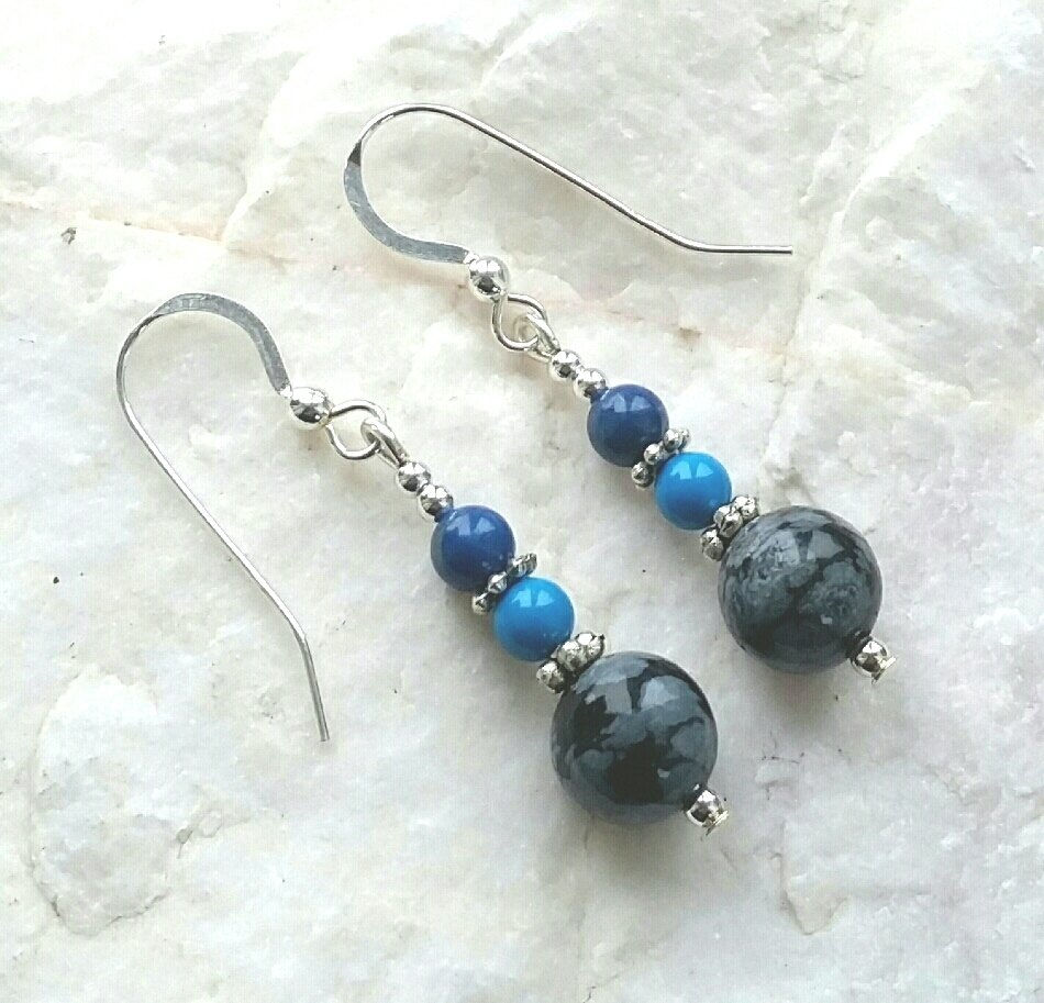 Snowflake Obsidian Lapis And Turquoise Silver Gemstone Earrings