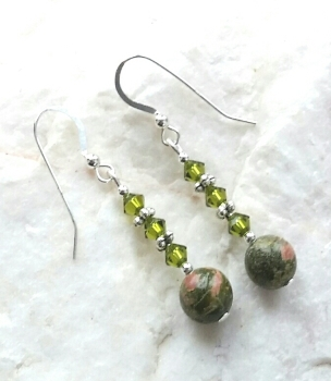 Unakite And Triple Peridot Swarovski Crystal Silver Bali Earrings