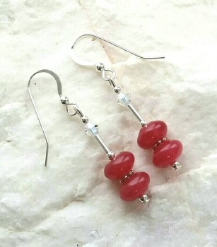 Ruby Quartz And Swarovski Crystal Sterling Silver Earrings