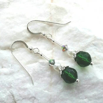 Faceted Emerald Crystal Silver Earrings