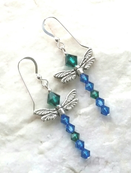 Emerald And Sapphire Swarovski Crystal Dragonfly Silver Earrings
