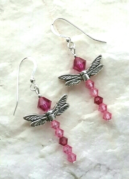Pink Dragonfly Swarovski Crystal Sterling Silver Earrings