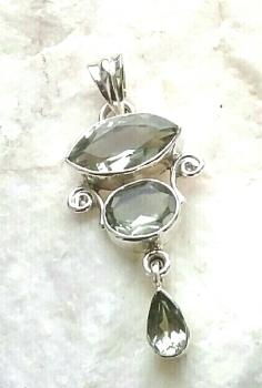 Triple Green Amethyst Gem Silver Pendant