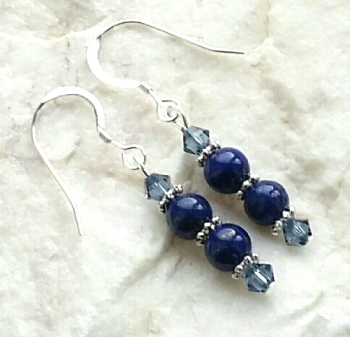 Lapis Lazuli Double Gemstone Sterling Silver Earrings