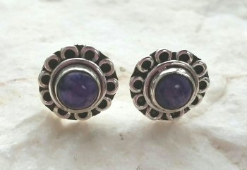 Lilac Charoite Stud Sterling Silver Earrings