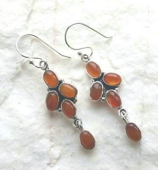 Carnelian Multi Gemstone Sterling Silver Earrings