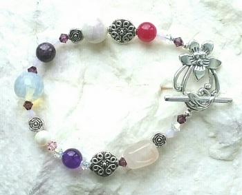Healing Multi Gemstone Crystal Silver Bracelet