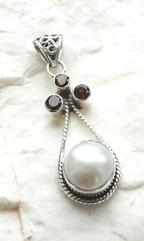Garnet And Freshwater Pearl Sterling Silver Pendant