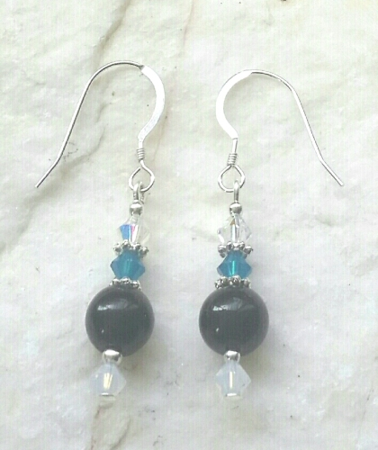 Black Onyx Gemstone And Swarovski Crystal Sterling Silver Earrings