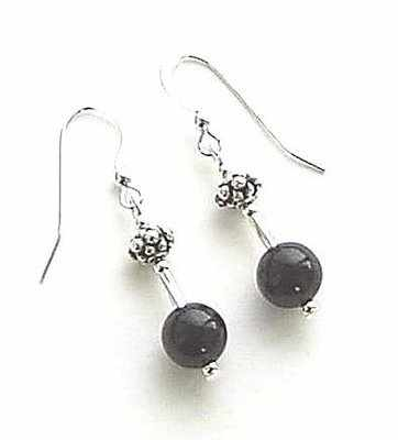 Black Onyx Bali Sterling Silver Gem Earrings