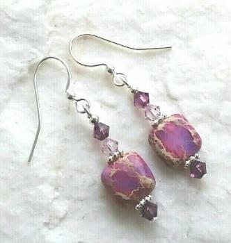 Purple Sea Sediment Jasper Sterling Silver Gemstone Earrings